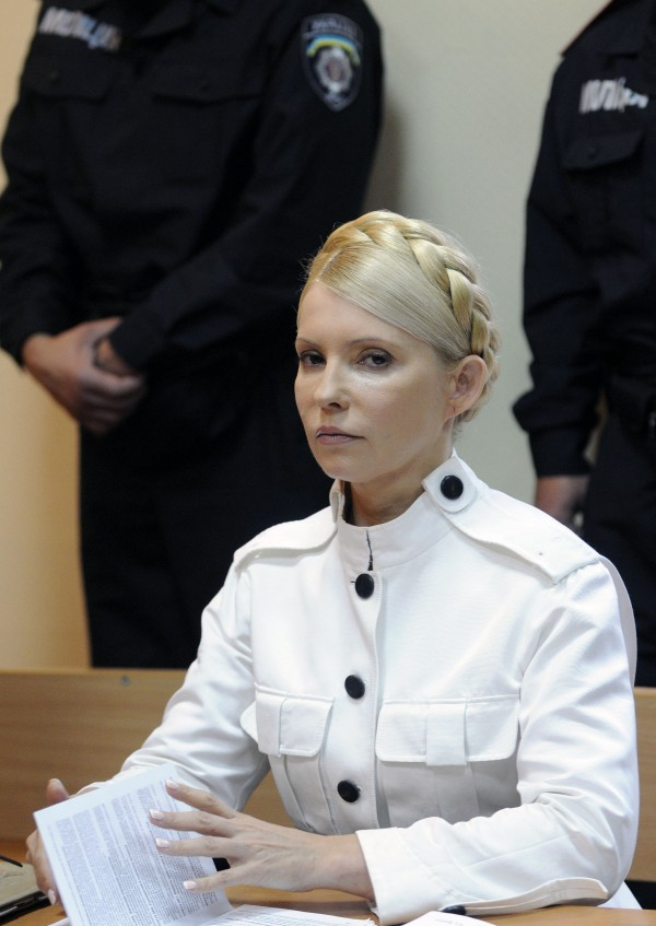 In this Wednesday, June 29, 2011 file photo, former Ukrainian Prime Minister Yulia Tymoshenko is seen during a trial hearing at the Pecherskiy District Court in Kiev, Ukraine.