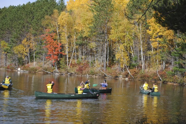 The students in the Maine Outdoor Education Program practice their canoeing strokes on Upper Togue Pond in Baxter State Park this past Tuesday.