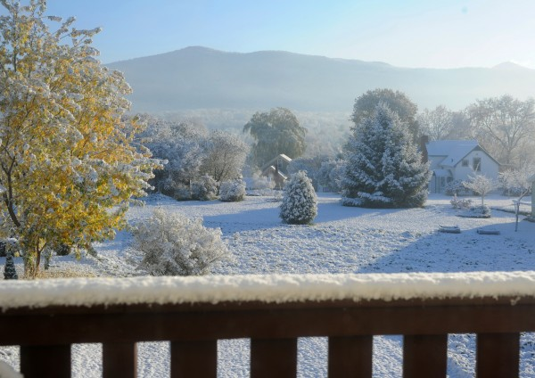 Rutland, Vt., residents woke up to this view to the east on Friday, Oct. 28, 2011, as a storm left a cover of snow, in Killington, Vt. There were up to six inches of snow atop Killington. Another snow and rainstorm is predicted for Saturday night.