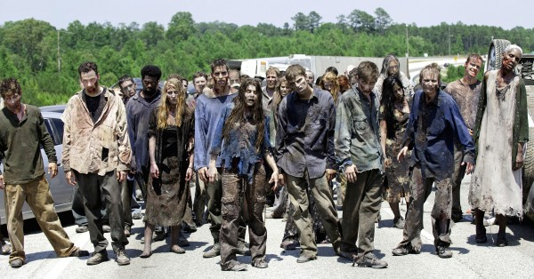 In this image released by AMC, zombies appear in a scene from the second season of the AMC original series, &quotThe Walking Dead,&quot in Senoia, Ga.
