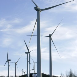A cluster of windmills operate on the north side of Mars Hill Mountain in Mars Hill in January 2007. Members of the Land Use Regulation Commission on Wednesday approved a 19-turbine wind energy project proposed for rural Hancock County.