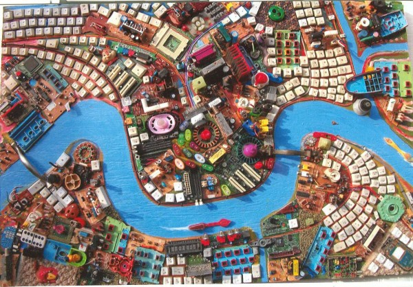 """Crescent City of Dreams #7,"" an assemblage made of recycled found objects by Wally Warren will be part of a display of his work at through November at Leonard Craig Memorial Gallery, Founders Hall South, 90 Quaker Road, at Unity College in Unity."