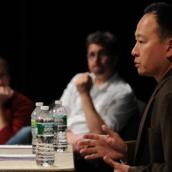 Dr. Anthony T. Ng (right), medical director of Acadia Hospital's psychiatric emergency services, speaks about the dangers of bath salts to a packed house at Gracie Theatre at Husson University on Wednesday Sept. 14, 2011. Ng was one of four guest speakers at the forum, which was hosted by Mike Dow (left) and Mike Elliot (center) of the Mike and Mike show on Kiss 94.5 FM.