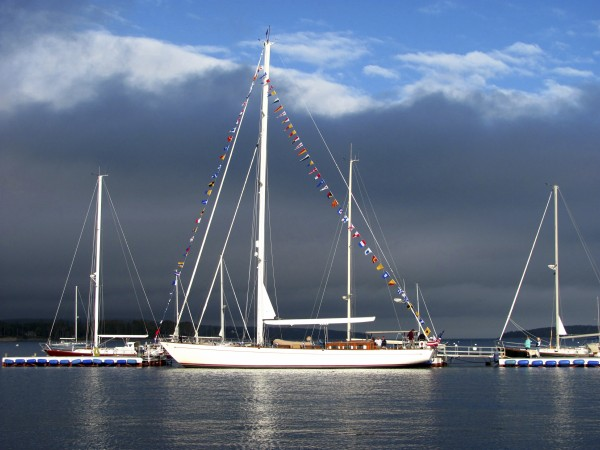 The Freesia, a 76-foot-long sloop launched in 1993, is docked at The Hinckley Co. boat yard in Southwest Harbor on Monday, Oct. 3, 2011.