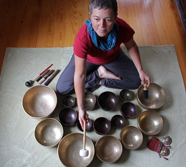 Lori LeBlanc prepares to play her Tibetan singing bowls. A licensed massage therapist, LeBlanc, 43, of Bremen uses to bowls, handmade in Nepal more than 100 years ago, as sound therapy and to inspire the awakening of consciousness. She will demonstrate how the bowls are used in a concert at 6:30 p.m. Thursday at the Rockland Public Library.
