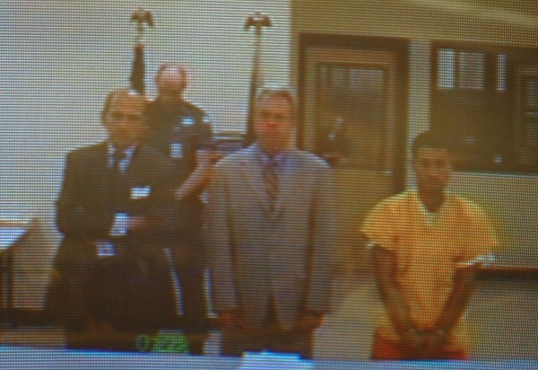 Angelo Licata of Detroit (right) makes his initial court appearance in Somerset County District Court via video conference on Friday, July 22, 2011. Licata was arrested in connection with the homicide of his father Alfred Licata.