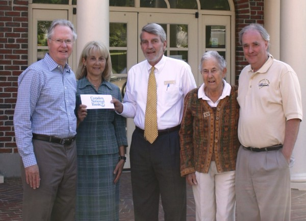 Representatives of the LifeFlight Foundation receive a donation from Camden National Bank Senior Vice President Jack Williams (center). With him are (from left) LifeFlight Foundation trustee Thomas Tinsley, LifeFlight Foundation trustee chairwoman Elaine Clark, Williams, LifeFlight Foundation trustee Ann Montgomery and LifeFlight Foundation Executive Director Thomas Judge.