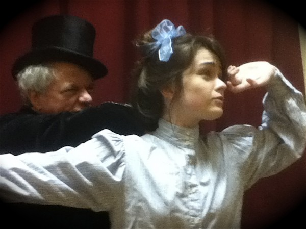 "Rick O'Malley as villain Munro Murgatroyd and Devin Fletcher as heroine Nellie Lovelace rehearse a scene from the Camden Civic Theatre production of ""Dirty Work at the Crossroads"" set for Friday through Sunday, Oct. 7-9, and 14-16, at Watts Hall in Thomaston."