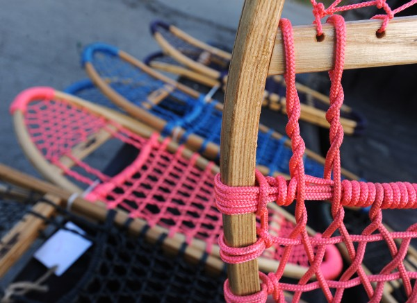 The frames for the Maine Guide Snowshoes are produced at the Charleston Correctional Facility and the webbing is tied on them by veterans in Augusta.