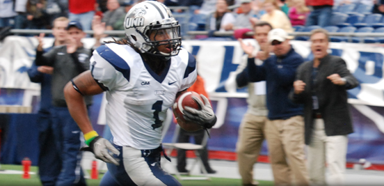 Junior New Hampshire running back Dontra Peters rushed for two touchdowns Saturday in the Colonial Clash at Gillette Stadium.