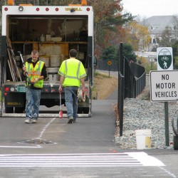 Work under way on bike-pedestrian path along rail line in Ellsworth