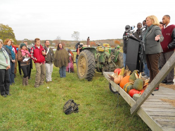 U.S. Rep. Chellie Pingree, D-Maine, on Monday announces federal legislation aimed to help small farms and local distribution of food. Pingree is joined by supporters on a hay trailer at Jordan's Farm in Cape Elizabeth as a thematic setting for the announcement.