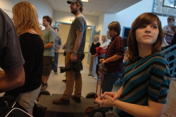 Faith Bishop (right) surveys the set during the filming of the movie she wrote on Sunday, Oct. 9, 2011, at Hermon High School, where she is a sophmore. The movie, which is a collaboration between Acadia Hospital, Hermon High School, Gum Spirits Productions, and Project Aware, deals with teen depression and anxiety.