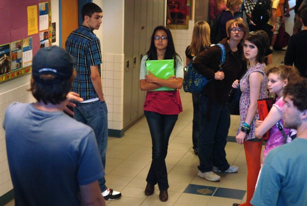 Extras receive direction from a member of the crew during the filming of a 40-minute film dealing with teen depression and anxiety on Sunday, Oct. 9, 2011, at Hermon High School.
