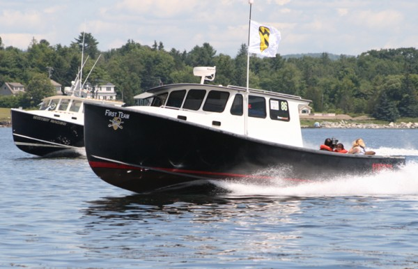 A teenager has been charged in the theft of the lobster boat First Team, shown in this contributed photo, from the town dock in Searsport in August. The vessel is a champion competitor on the Maine Lobster Boat Racing circuit.