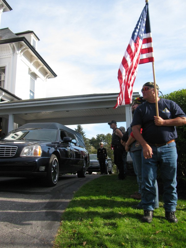 Members of the Portland chapter of the STAR motorcycle touring group stood at attention throughout member Don Campbell's funeral Sunday afternoon at Hall Funeral Home in Waldoboro. The pilot for Penobscot Island Air died Wednesday when his plane crashed on Matinicus Island.