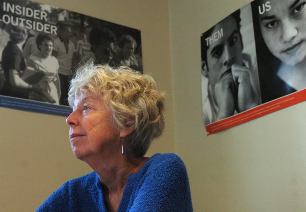 Connie Carter, co-founder of Operation Breaking Stereotypes, in her Orono office on Monday, October 24, 2011. Carter, along with Dr. Dora Ann Mills and Rev. Sue Davies, will be honored as the recipients of the 26th annual Mary Ann Hartman Awards.