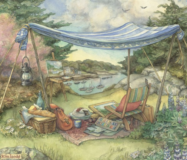 "Work by author and illustrator Kim Jacobs, such as this piece, ""Canopy Picnic,"" will be on display through November at the Belfast Public Library."