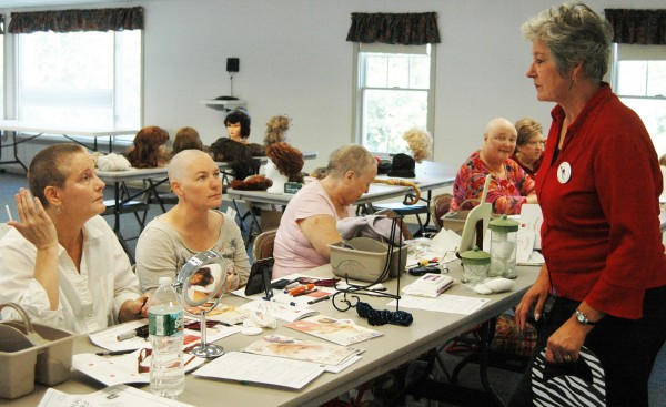 Cosmetologist Linda Nash talks with participants in a recent Look Good … Feel Better class. From left are Mary Ordway, Kelley Ripley, Carol Hersom, Sharon Satterfield, MD, and Mary Holt.