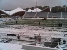 Villanova Stadium, the site of Saturday's CAA football game between the University of Maine and Villanova, was hit by the winter storm moving up the East Coast. More than two inches of snow had to be plowed off the playing surface, but precipitation, wind and cold temperatures remained for the contest.