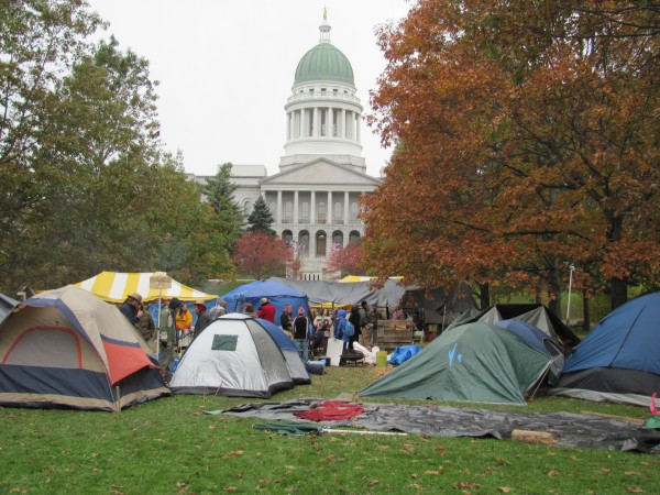 The Occupy Augusta encampment spent much of Saturday, Oct. 29, 2011 preparing for the winter storm that hit the state later in the day. The occupiers estimated that there is a core group of about 40 people living at Capitol Park with another few dozen staying there as much as they can.