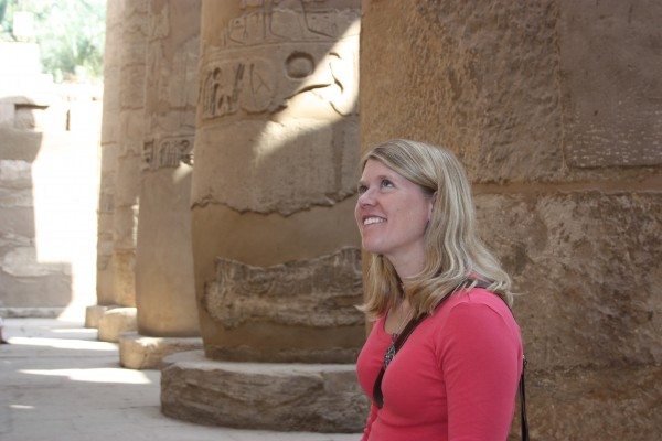 Sarah Parcak, seen at one of many Egyptian archaeological sites.