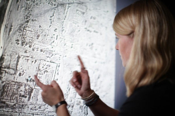 Sarah Parcak examines a satellite image of an Egyptian archaeological site.