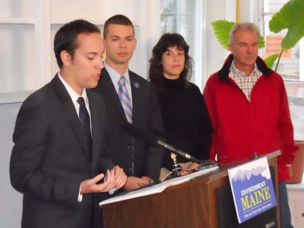 Andrew Francis, a field associate with Environment Maine, on Thursday morning announces the release of a report aimed at reducing Maine's fuel consumption by nearly 40 percent by 2030. Flanking Francis is state Rep. Alex Cornell du Houx, D-Brunswick, Portland homeowner Ashley Salisbury and Warm Tech Solutions owner Ashley Richards. Not pictured, but taking part in the announcement Thursday, was Adam Lee, chairman of the board for Lee Auto Malls.