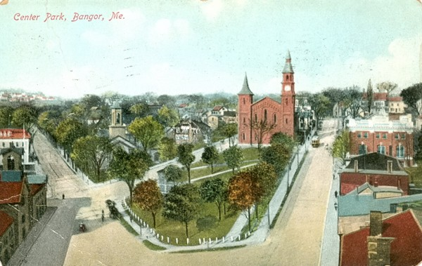 The bandstand in Center Park can be seen in this old postcard  near the intersection of Harlow, Park and Center streets. After the fire of 1911, the park was replaced by a new post office building that eventually became today's Bangor City Hall.