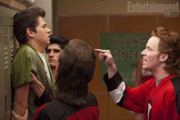 "In a ""Glee"" episode titled ""Pot O' Gold,"" Rock Anthony (far right) returns as antagonistic hockey player Rick ""The Stick"" Nelson, the same role he played in the season's premiere."
