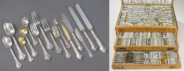 This circa 1900 Tiffany sterling silver flatware service for 12 sold for $18,135 recently at Quinn's and Waverly, Falls Church, Va.