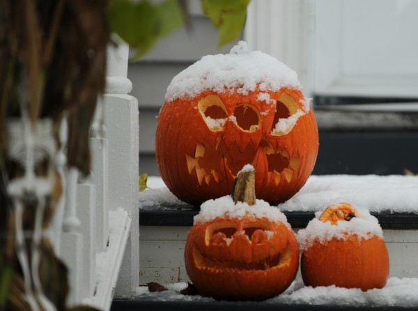 Snow-covered carved pumpkins sit on a doorstep on Parkview Avenue in Bangor on Sunday, Oct. 30, 2011.