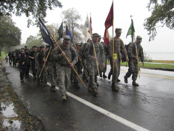 Maine-based members of various branches of the military near the end of a 26.2-mile march Sunday, Oct. 2, 2011, during the annual Maine Marathon Tribute March in the Portland area.