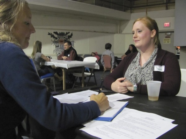 Kendray Welsh was one of a dozen would-be babysitters who participated in a unique &quotSpeed-Sitting Social&quot Tuesday, October 25, 2011, in Bath. Welsh and the other babysitters spent five minutes with each participating family before rotating to the next. In the end, the families left with a stack of resumes and the babysitters departed with the hope of being hired.