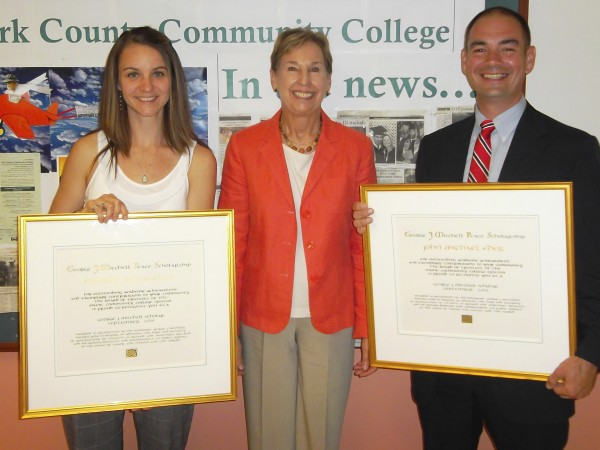 George J. Mitchell Scholar recipient Nichole Rackliff, Scholarship Coordinator Dorry French and Recipient John Eder.