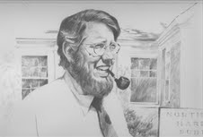 Pencil sketch of Bob Pyle in front of the Northeast Harbor Library, 1985, by artist, Vits Knuble.