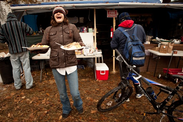 The OccupyMaine Thanksgiving dinner consisted of half a dozen turkeys and many kinds of mashed potatoes and pie.