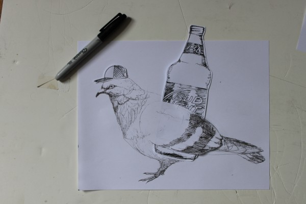 An example of the Pigeon's artwork.