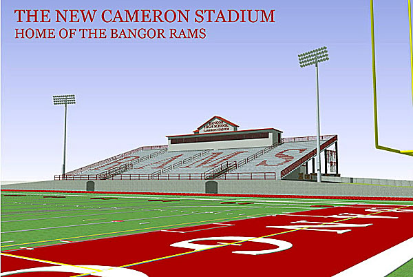 A field-level perspective of the proposed redesign of Cameron Stadium in Bangor.