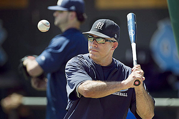 Maine baseball coach Steve Trimper hits during infield practice before a game last season. Maine will face two national powers next season when it opens the season with a three-game series at Clemson (S.C.) and follows up with a two-game set at Florida A&M and a three-game series at Florida State.