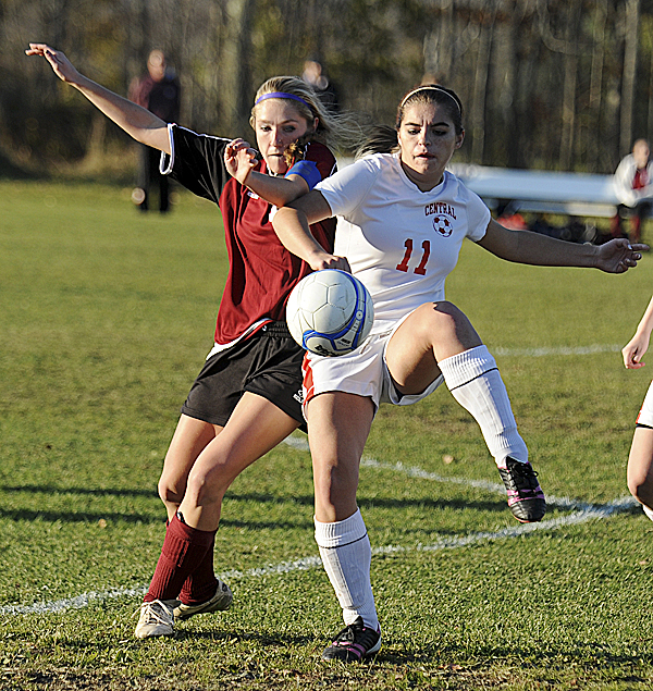 Central High School's Taylor Clark (right) and Orono High School's Analies Ross-Dyjak battle for the ball during the Eastern Maine Class C championship game in Corinth Wednesday. Central won 4-3 after the second round of penalty kicks.