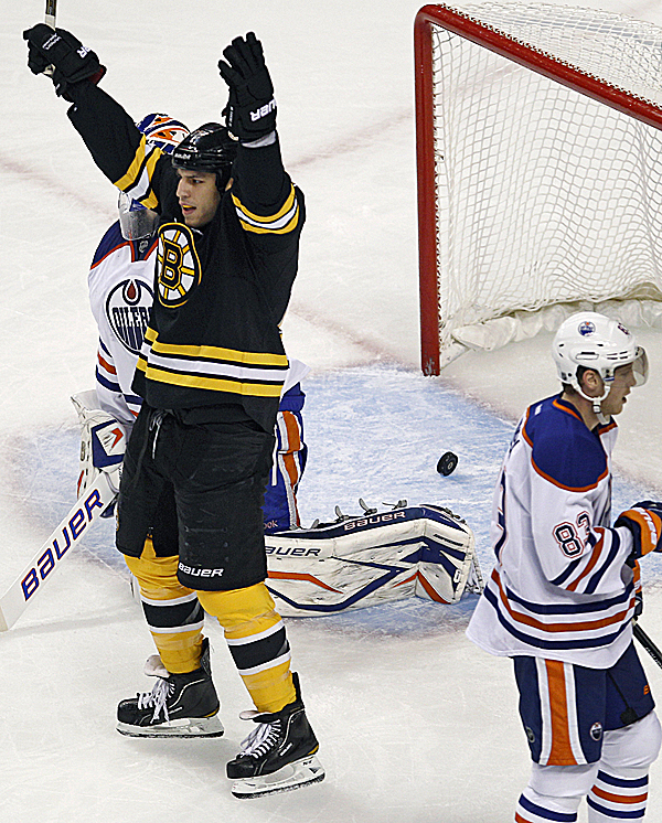 Left wing Milan Lucic of the Boston Bruins raises his arms in celebration after teammate Johnny Boychuk's goal during the first period of Thursday night's game in Boston against the Edmonton Oilers. Right wing Ales Hemsky (right) of the Oilers skates away. The Bruins won 6-3.