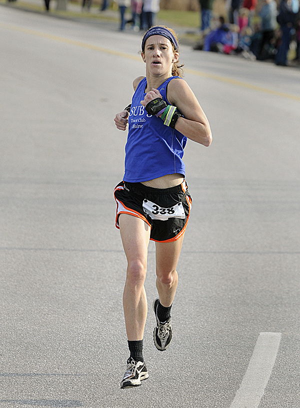 Kristine Guaraldo of South Portland was the first female finisher of the 30th annual Turkey Trot three-mile road race in Brewer Sunday afternoon, Nov. 20, 2011.