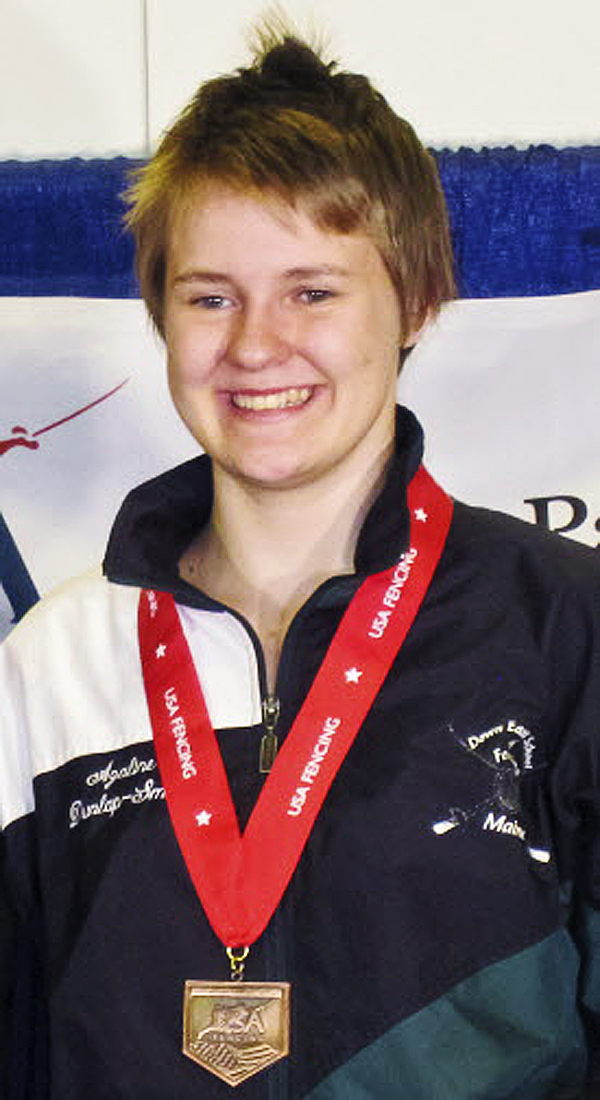 Azaline Dunlap-Smith, 16, of Machias is headed to Europe to compete in an international fencing tournament starting Nov. 25, 2011.