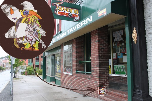 An example of the Pigeon's artwork, attached to the Tavern on Main Street in downtown Bangor with wheat paste.