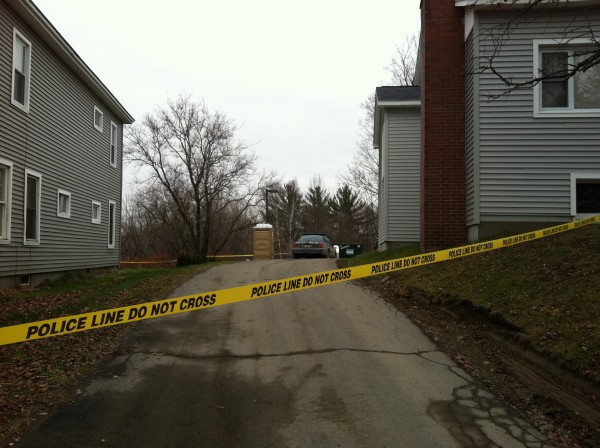 Police tape cordons off 462 Essex St. in Dover-Foxcroft.