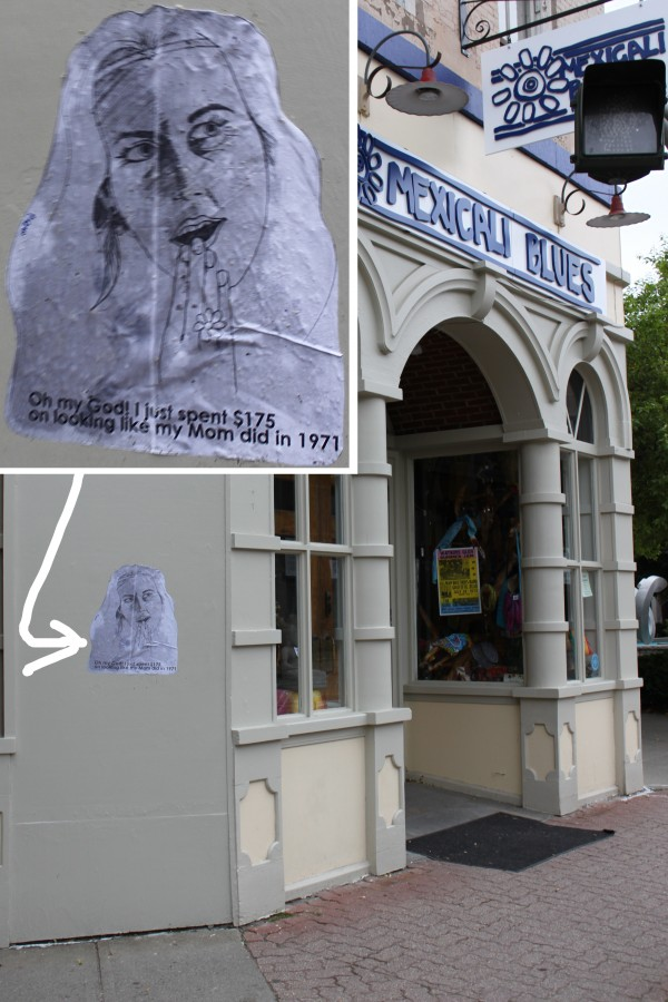 An example of the Pigeon's artwork, attached to Mexicali Blues in downtown Bangor with wheat paste.