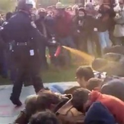 In this image made from video, a police officer uses pepper spray as he walks down a line of Occupy demonstrators sitting on the ground at the University of California, Davis on Friday, Nov. 18, 2011. The video, posted on YouTube, was shot Friday as police moved in on more than a dozen tents erected on campus and arrested 10 people, nine of them students.