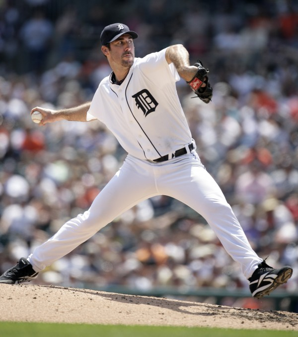 In this July 31, 2011 file photo, Detroit Tigers starter Justin Verlander pitches against the Los Angeles Angels in the seventh inning of a baseball game, in Detroit. Verlander won the AL MVP Award on Monday, Nov. 21, 2011.