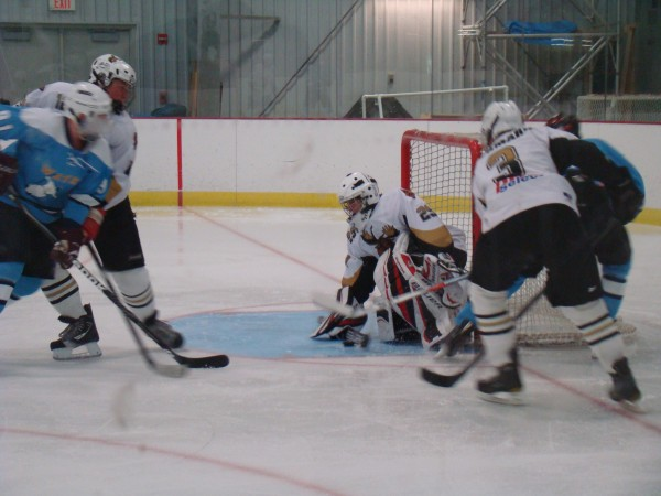 Goalie Mike Brown makes a save for the Maine Moose during a recent game.